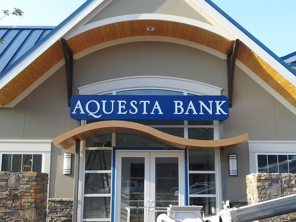 building signage for aquesta bank