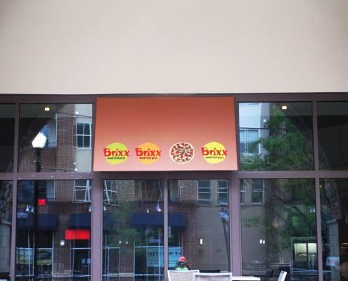 building sign at Brixx Pizza
