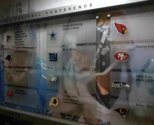 interior sign at football wall display