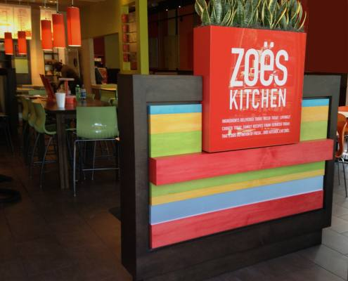 interior signage at zoe's kitchen