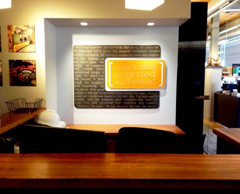 interior signage at starr design reception