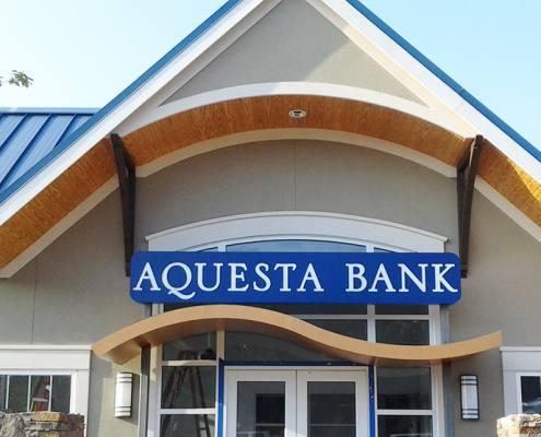 building sign at aquesta bank