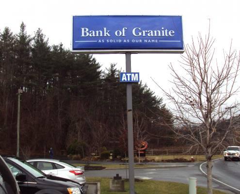 pylon sign at bank of granite
