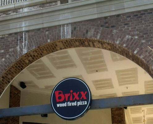 exterior building sign at brixx pizza