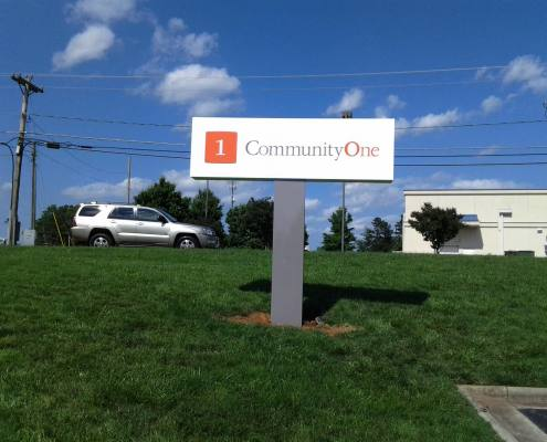 pylon sign at community one bank