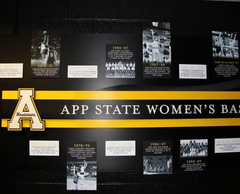 interior sign for women's Appalachian state university basketball