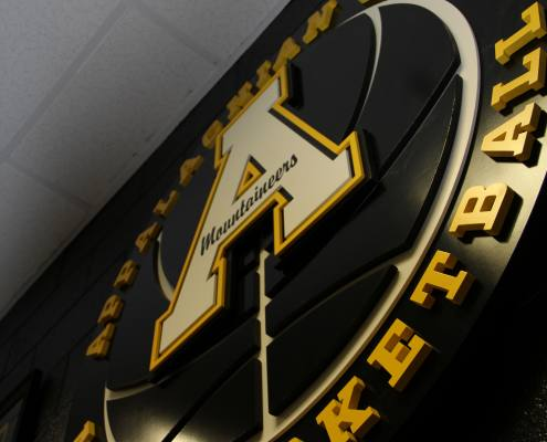 interior sign for Appalachian state university basketball